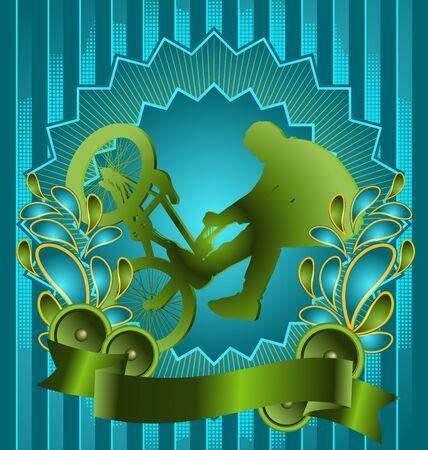 Vintage background design with biker silhouette. Vector illustration. Stock Vector - 10566168