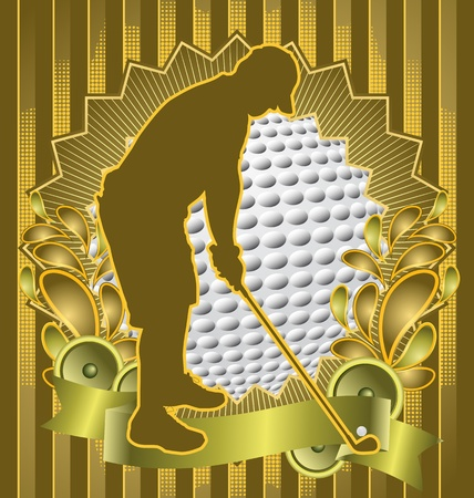 Vintage background design with golf player silhouette. Vector illustration.