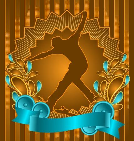 skatepark: Vintage background design with skateboarder silhouette. Vector illustration. Illustration