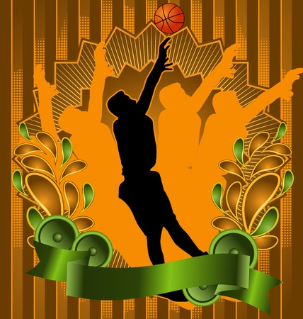 Vintage background design with basketball player silhouette. Vector illustration. Vector