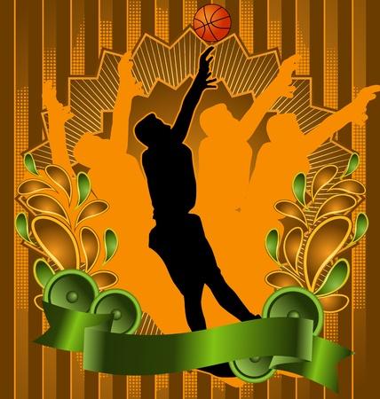 Vintage background design with basketball player silhouette. Vector illustration. Illustration