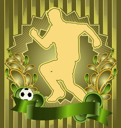 world player: Vintage background design with soccer silhouette. Vector illustration. Illustration