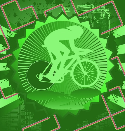 Vintage background design with cyclist silhouette. Vector illustration. Vector