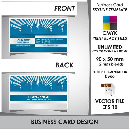 Modern Business Card Skyline Template Vector