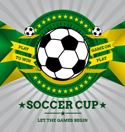 world cup: Vector Soccer Emblem with Geometric Background in Brazil flag colors