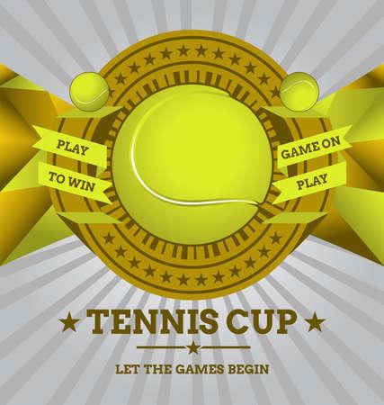 backhand: Vector Tennis Emblem with Geometric Background  Illustration