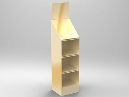 photoreal: Promotional Store Shelf Stand 3D Render Stock Photo