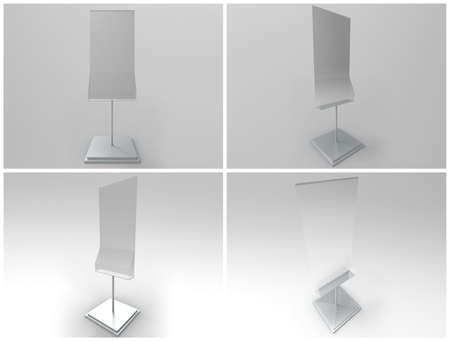 Poster Stand with Rack 3D Render Stock Photo
