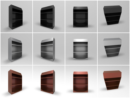 photoreal: Promotional Shelf Display 3D Render Stock Photo
