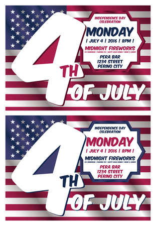4th of July Invitation Card Template Illustration