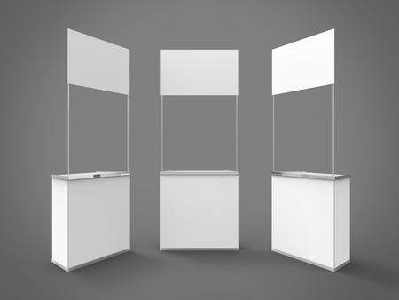 promoter: Promo Counter 3D Render Combined Perspectives is a professional 3D render on a studio background, created with a 3D model of standard square promo counter.