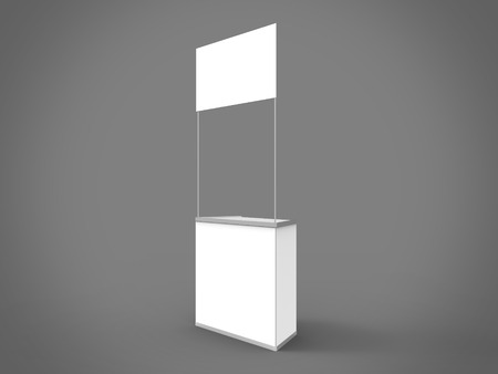promoter: Promo Counter 3D Render Side Perspective is a professional 3D render on a studio background, created with a 3D model of standard square promo counter.