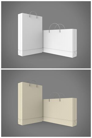 ides: Shopping Bag 3D Rendering is a professional 3D render on a studio background, created with a 3D model of a standard shopping bag size. This is a great way of presenting your design ides, patterns, logos and complete bag designs. This set contains 2 differ