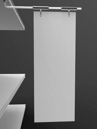 Shelf Banner 3D Rendering is a professional Shelf Banner 3D render on a studio background created with a 3D model of a 30 x 80 cm shelf banner.