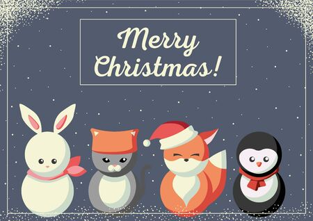 Christmas card with cute little animals wearing winter clothes Çizim