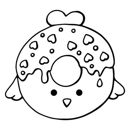 Glazed cute doughnut animal. Isolated donuts with glaze and bite, eaten chocolate icing fritters or caramel circle doughnuts
