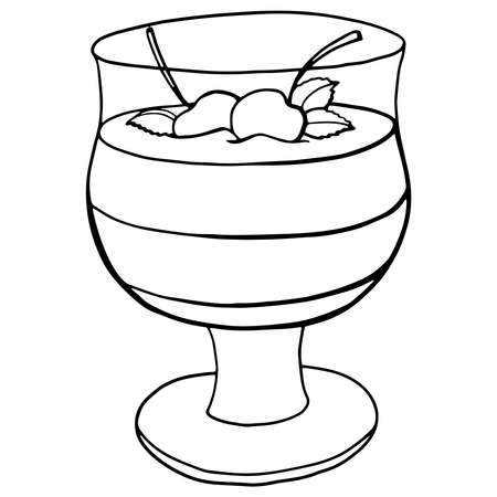 Vector hand drawn pudding icon badge dessert for design menu cafe, label and packaging. Retro style.