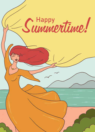 Hello summer. Cute vector illustration for summer backgrounds, cards, posters and flyers. Freehand drawings