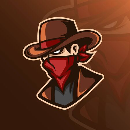 mascot icon design cowboy and hat concept