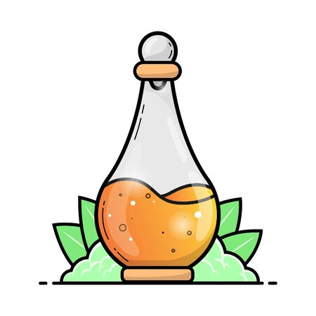 Flat design Potion bottle with orange liquid with grass and leaf isolated in white background