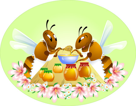 apiculture: Shows two funny bees in cartoon style  They are engaged in canning jars of honey in the table  Achieved on a background of pink flowers