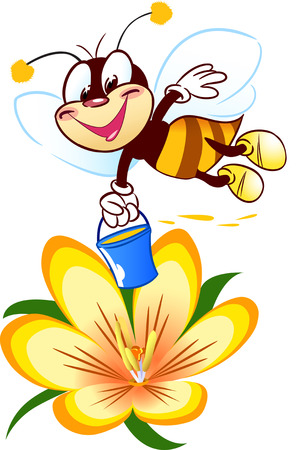 The illustration shows a funny cartoon bee at work  It collects honey on a flower background  Achieved in isolation on individual layers  Vector