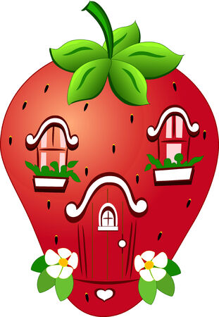 The illustration shows a fabulous home in the form of strawberries  Isolated on white background, in a cartoon style  Vector