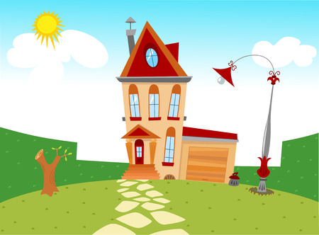 Displaying tiny cartoon house and yard with lawn and lantern  Vector on separate layers  Vector