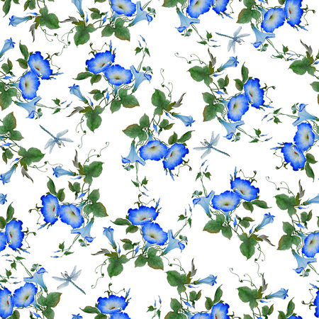 Watercolor pattern seamless with a flowering branch ipomoea. Beautiful blue flowers of the morning glory, dragonflies are fly near. Hand drawn illustration. Wallpaper, fabric design, isolated on white background.