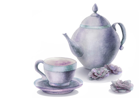 Watercolor  illustration with kettle, cup tea time and buds  of flowers in blue tones. Gentle greeting card, invitation for your design.