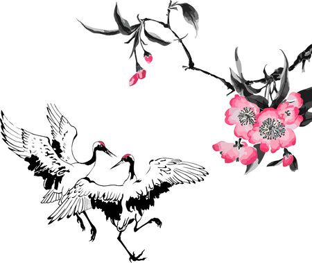 Vector illustration with traditional Chinese painting of flowers cherry blossom and two dancing cranes, isolated white background.  Wedding invitations, greeting cards, prints, textile design, wallpaper. Ilustracja