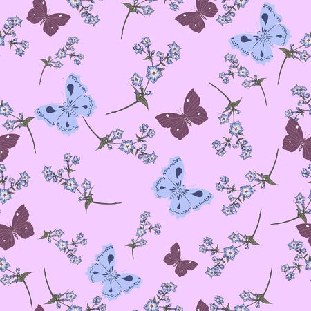 Vector seamless pattern with butterflies and wildflowers