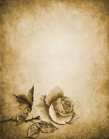 Watercolor with one vintage rose in retro style in sepia monochrome Stock Photo