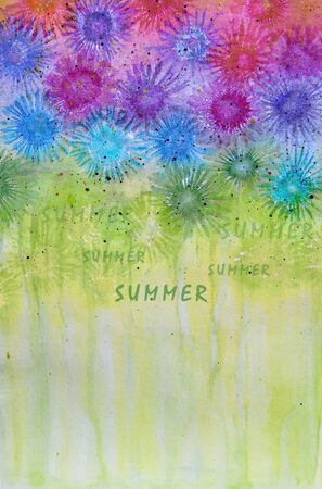 Watercolor with abstract summer flowers Stock Photo