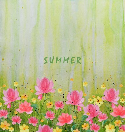 Watercolor illustration of summer flowers on a green background with an inscription summer, there is a place for your text. Greeting postcards, prints, packaging design. Stock Photo