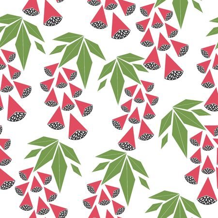 Vector seamless pattern with red berries, on a white background. Can be used as  greeting postcards, prints, textile design, packaging design.