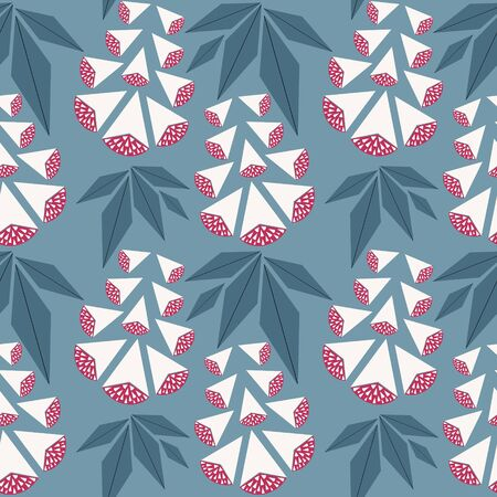 Vector seamless pattern with white and red berries, on a blue background. Can be used as  greeting postcards, prints, textile design, packaging design.