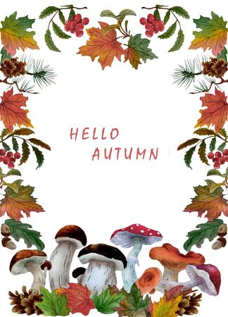 Watercolor illustration with a decorative frame with autumn leaves, mushrooms and pine cones. There is a place for text. Can be used as  greeting postcards, prints, textile design, packaging design