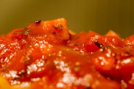 spaghetti saus: Closeup oog van de spaghettisaus