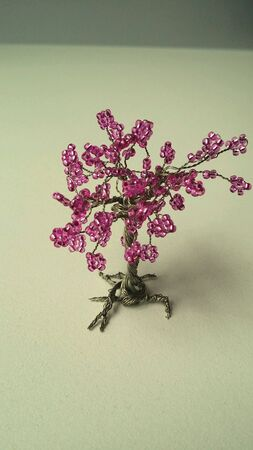 wire: Tree made of steel wire an pearls Stock Photo