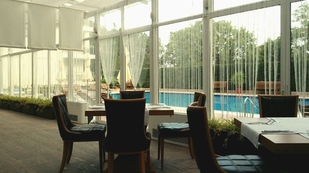 accomodation: Hotel restaurant with pool