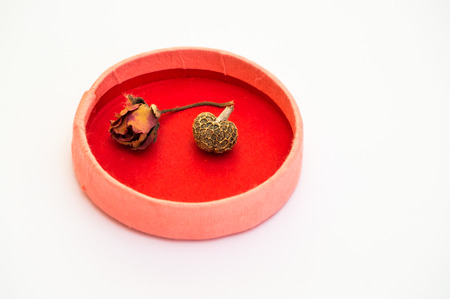 Paper pink and red box containing a dried small rose and a heart shaped bean photo