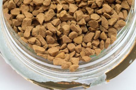 granules: Coffee granules in a jar