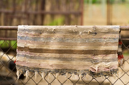 carpet clean: Old used carped drying