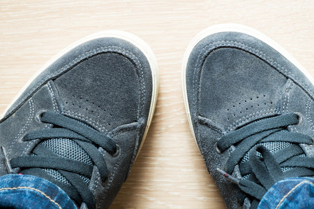 trouser legs: Skateboarding shoe nose pointing to each other Stock Photo