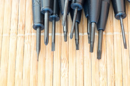 philips: Close up view of torx, flat and Philips precious screwdrivers
