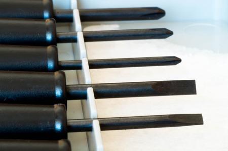 philips: Macro shot of precious flat and Philips screwdrivers Stock Photo
