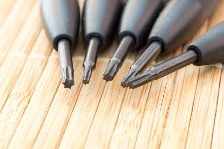 metal tips: Precious torx screwdriver tips together