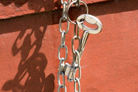 key chain: Key hanging on key chain Stock Photo