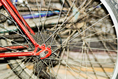training wheels: Unused bicycle wheels with the spoke and gear wheel Stock Photo